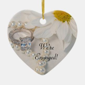 Elegant White Daisy We're Engaged Christmas Ornament