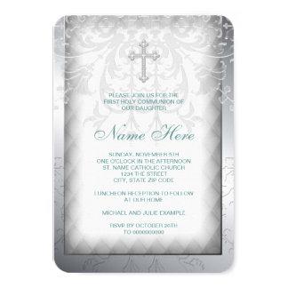 Elegant White Damask Cross First Communion 9 Cm X 13 Cm Invitation Card
