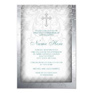 Elegant White Damask Cross First Communion Personalized Invitation