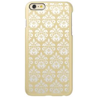 Elegant white damask on gold custom iPhone 6 plus case