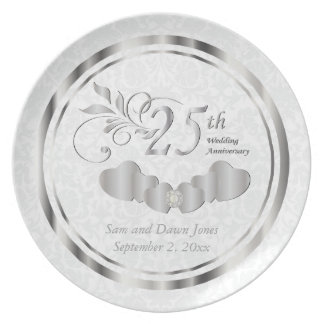 Elegant White Damask & Silver Anniversary Keepsake Plates