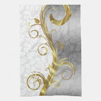 Elegant White Damasks Gold & Silver Swirls Tea Towel