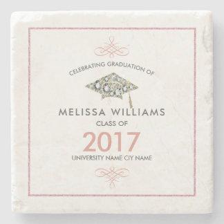 Elegant White Diamonds Graduation Hat Stone Coaster