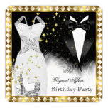 Elegant White Dress Black Tie Gold Birthday Party 13 Cm X 13 Cm Square Invitation Card