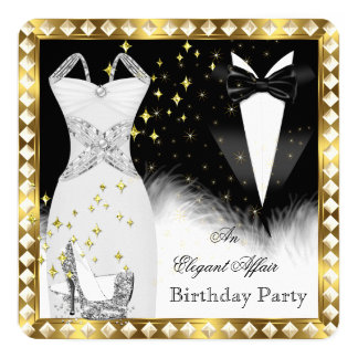 Elegant White Dress Black Tie Gold Birthday Party Card