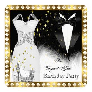 Elegant White Dress Black Tie Gold Birthday Party Card