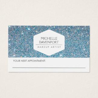 ELEGANT WHITE EMBLEM BLUE GLITTER APPOINTMENT CARD