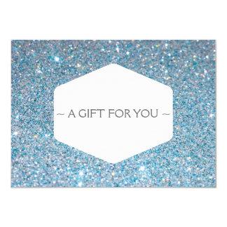 ELEGANT WHITE EMBLEM BLUE GLITTER Gift Certificate Card