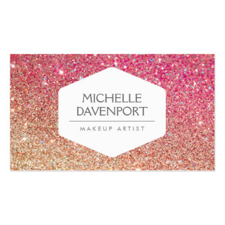 ELEGANT WHITE EMBLEM BRONZE/PINK OMBRE GLITTER PACK OF STANDARD BUSINESS CARDS