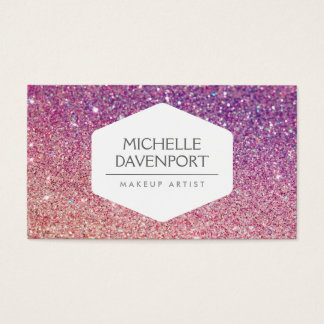 ELEGANT WHITE EMBLEM BRONZE/PURPLE OMBRE GLITTER BUSINESS CARD
