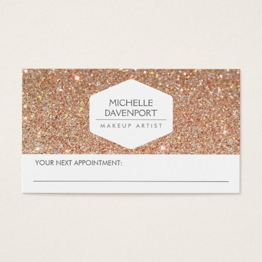 ELEGANT WHITE EMBLEM COPPER GLITTER APPOINTMENT BUSINESS CARD