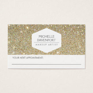 ELEGANT WHITE EMBLEM GOLD GLITTER APPOINTMENT CARD