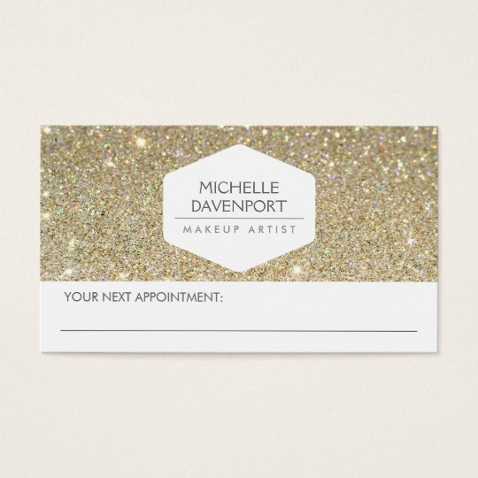 ELEGANT WHITE EMBLEM GOLD GLITTER APPOINTMENT CARD