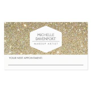 ELEGANT WHITE EMBLEM GOLD GLITTER APPOINTMENT CARD PACK OF STANDARD BUSINESS CARDS