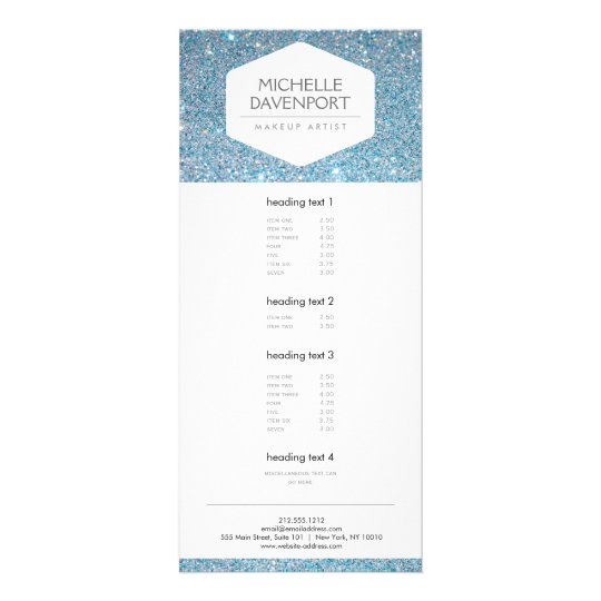 ELEGANT WHITE EMBLEM ON BLUE GLITTER RACK CARD