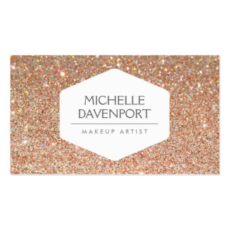 ELEGANT WHITE EMBLEM ON COPPER GLITTER Double-Sided STANDARD BUSINESS CARDS (Pack OF 100)