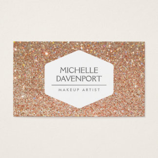 ELEGANT WHITE EMBLEM ON COPPER GLITTER BUSINESS CARD