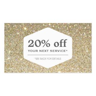 ELEGANT WHITE EMBLEM ON GOLD Discount Coupon Card Pack Of Standard Business Cards