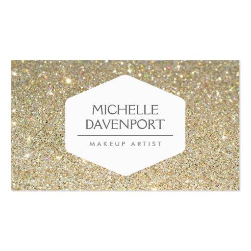 ELEGANT WHITE EMBLEM ON GOLD GLITTER BACKGROUND BUSINESS CARD TEMPLATES