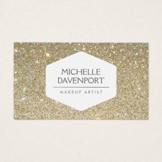 ELEGANT WHITE EMBLEM ON GOLD GLITTER BACKGROUND BUSINESS CARD