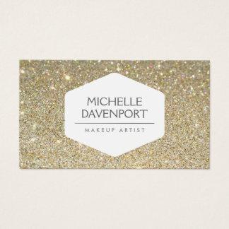 ELEGANT WHITE EMBLEM ON GOLD GLITTER BACKGROUND BUSINESS CARD