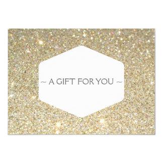 ELEGANT WHITE EMBLEM ON GOLD GLITTER Gift Card 11 Cm X 16 Cm Invitation Card