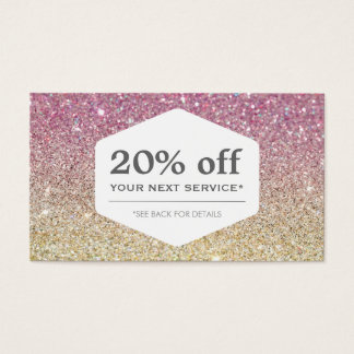 ELEGANT WHITE EMBLEM ON PINK OMBRE Coupon Card