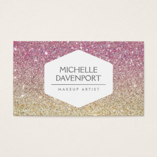 ELEGANT WHITE EMBLEM ON PINK OMBRE GLITTER BUSINESS CARD