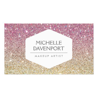 ELEGANT WHITE EMBLEM ON PINK OMBRE GLITTER PACK OF STANDARD BUSINESS CARDS