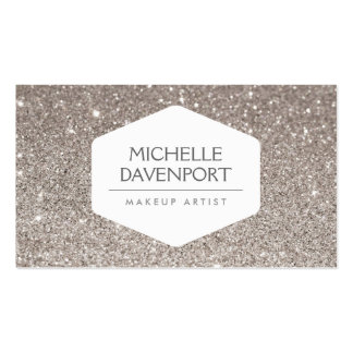 ELEGANT WHITE EMBLEM ON SILVER GLITTER BACKGROUND PACK OF STANDARD BUSINESS CARDS