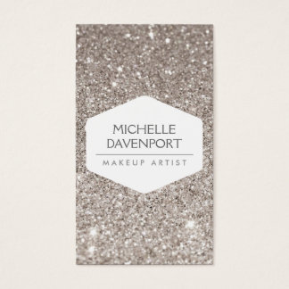 ELEGANT WHITE EMBLEM ON SILVER GLITTER II BUSINESS CARD