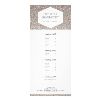 ELEGANT WHITE EMBLEM ON SILVER GLITTER Rack Card