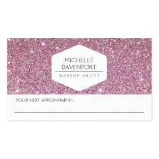 ELEGANT WHITE EMBLEM PINK GLITTER APPOINTMENT CARD PACK OF STANDARD BUSINESS CARDS