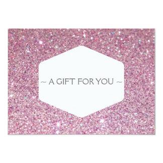 "ELEGANT WHITE EMBLEM PINK GLITTER Gift Certificate 4.5"" X 6.25"" Invitation Card"