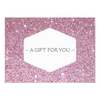 ELEGANT WHITE EMBLEM PINK GLITTER Gift Certificate 11 Cm X 16 Cm Invitation Card