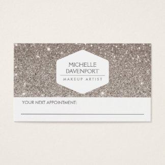 ELEGANT WHITE EMBLEM SILVER GLITTER APPOINTMENT BUSINESS CARD