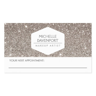 ELEGANT WHITE EMBLEM SILVER GLITTER APPOINTMENT PACK OF STANDARD BUSINESS CARDS