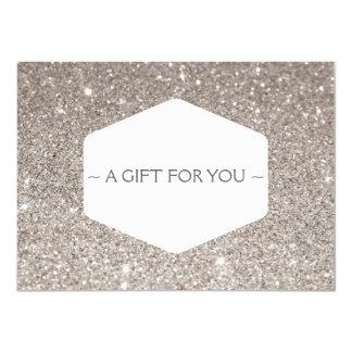 ELEGANT WHITE EMBLEM SILVER GLITTER Gift Card 11 Cm X 16 Cm Invitation Card