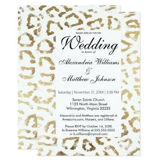 Elegant white faux gold animal print wedding card