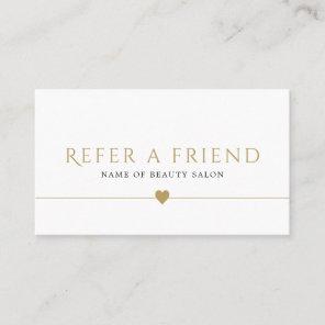 Elegant White Faux Gold Beauty Salon Referral Card
