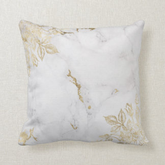 Elegant white faux gold chic marble luxury floral cushion