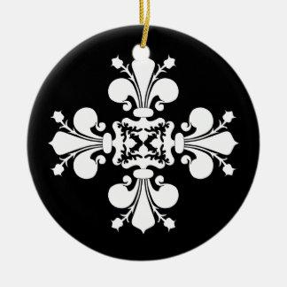 Elegant white fleur de lis damask motif christmas ornament