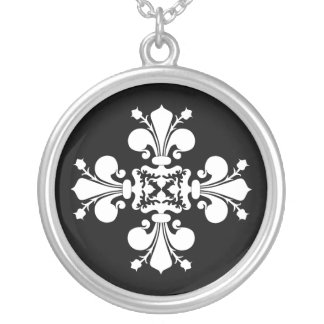 Elegant white fleur de lis damask motif silver plated necklace