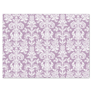 Elegant White Floral Damasks Lavender Background Tissue Paper