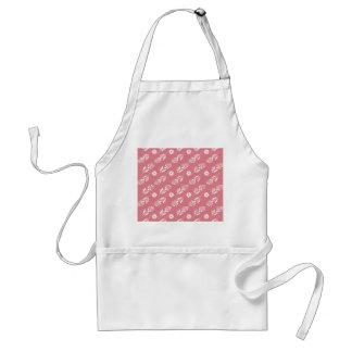 Elegant White Floral Pattern On Strawberry Pink Apron