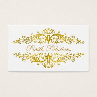 elegant white flourish  business card