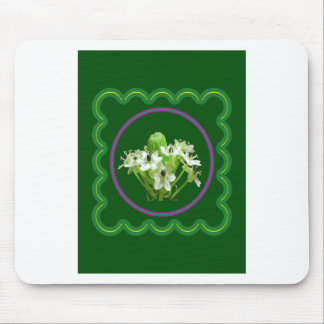 Elegant white flower floral  graphic on 100 gifts mouse pad