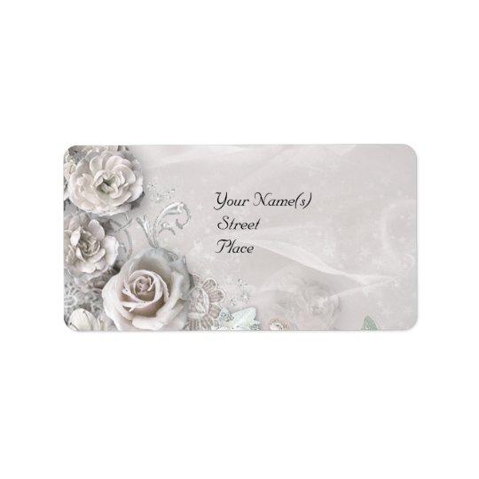 Elegant White Flowers Address Label