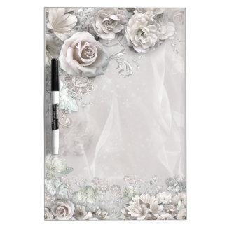 Elegant white Flowers Dry Erase Board