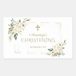 Elegant White Flowers Gold Confetti Christening Rectangular Sticker